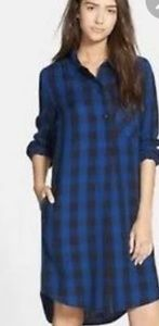 J.Crew plaid blue/black shirt tunic dress XS